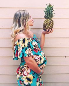 This gorgeous floral maternity maxi dress is the perfect piece to wear to the beach or for a casual day. A trendy off shoulder gives this maxi dress style, while a floral print gives a soft, feminine touch. Pair this dress with a neutral wedge and add your favorite accessories for a complete ensemble. via @kenzie.staples
