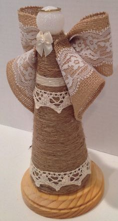 Burlap and lace are a stunning mix. Perfect as Centerpieces at a reception or shower sitting atop a pedestal or surrounded by candles and greenery. Bulk orders are welcomed - please message me to discuss. Please see my shop for the coordinating groom angel. The bride and groom angels would be lovely as decor at a sweetheart table. Lovely at home and fits with any decor.