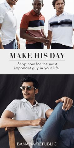 Beat the heat and lose the long sleeves. Add lightweight fabrics and summer-ready prints to his wardrobe with our ultimate polos. With cotton known for its softness and durability that resists pilling and shrinkage, our polos give a reliably polished look to any man. Upgrade his style this Father's Day with Banana Republic.