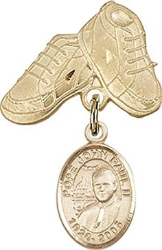14kt Gold Filled Baby Badge with St John Paul II Charm and Baby Boots Pin * Click image to review more details.