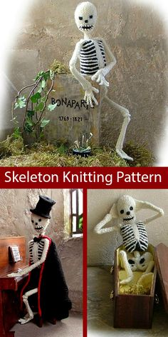 Halloween Knitting Patterns - In the Loop Knitting Halloween Knitting Patterns Free, Beginner Knitting Patterns, Halloween Patterns, Knitting Projects, Halloween Toys, Halloween Skeletons, Vintage Halloween, Halloween Makeup, Halloween Costumes