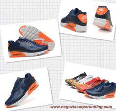 504658-004 Navy scuro Nero Bianco Atomic Arancione Nike Air Max 90 Hyperfuse PRM Uomo-Donna scarpe da calcetto migliori