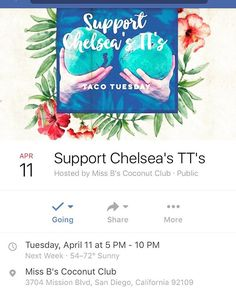 Wear your finest tropical skirts, coconut bras and join us for Taco Tuesday April 11 to support Chelsea Beaumonte before her DOUBLE MASTECTOMY scheduled for the end of the month. A portion of proceeds from food, drinks, tips and raffle prizes will go directly to Chelsea in order to help her offset the unbelievable costs of the operation, chemo treatments and other related hospital expenses. Anything helps so please SHARE the event. If you can't make it but still want to contribute, please…
