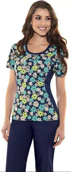 Cherokee Flexibles Women's Jewel Neck Print Scrub Top -- see more like this at allheart.