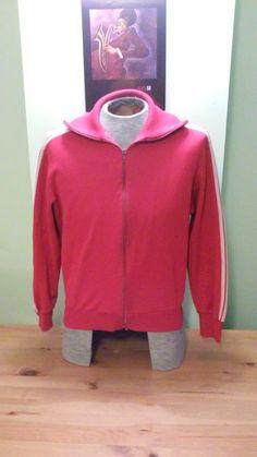 eddc06008268 Vintage Red   White Adidas Long Sleeve Unisex Zip Up by VintageMixWest on Etsy  Vintage Items