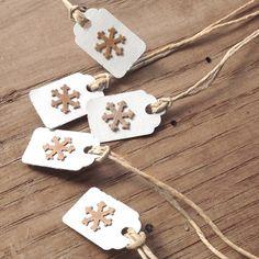 15  7/8 x 13/16 Tiny Kraft Snowflakes On White by CatalinaInspired, $8.50