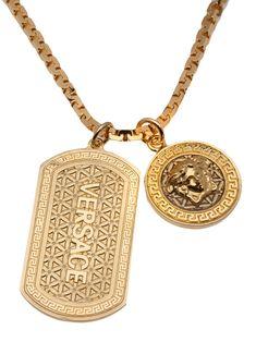 Versace Jewelry, Versace Chain, Luxury Jewelry, Versace Brand, Gold Chain With Pendant, Gold Chains For Men, Wedding Jewelry, Dog Tag Necklace, Jewelery