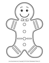 gingerbread man template clipart coloring page for kids ms - Gingerbread Man Color Pages