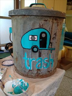 """Trailer trash"" I painted for my mom's new vintage camper!"