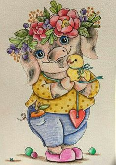 Art by Albisotry This Little Piggy, Little Pigs, Cute Animal Drawings Kawaii, Cute Drawings, Pig Images, Pig Drawing, Pig Illustration, Art Cart, Pig Art