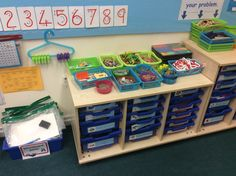 All maths resources are kept together by the maths display so children are able to locate all the resources they need either from the display or the trays/baskets when completing their maths tasks. The resources include objects such as animals, coins, multilink, number lines and number squares, number cards and clocks. Each tray is clearly labelled and has an image next to the name of the resource to ensure accessibility for the children as well as any adults working within the classroom.