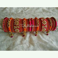 Bridal set (Customised according to you needs) Silk Thread Bangles Design, Silk Bangles, Bridal Bangles, Thread Jewellery, Beaded Jewelry, Terracotta Jewellery Designs, Indian Wedding Jewelry, Bangle Set, Jewelry Patterns
