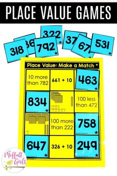 Place Value Make a Match math center for 2nd grade