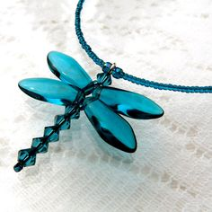 Dragonfly Jewelry Teal Green Necklace Beaded by SimpleBeadPatterns, $24.00