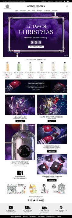 12 Days of Christmas daily deals on Molton Brown's website, including Countdown Timer #Website #Digital #Online #Marketing #CountdownTimer #Beauty #Christmas #Deals