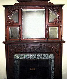 Victorian Fireplace Mantels | Victorian fireplace mantel mantelpiece, oak, antique (item #1020685)