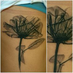 Amazing black on skin flower by Evgeny Green. Flowers make for beautiful mastectomy tattoos.