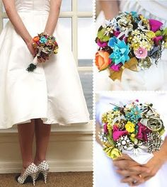 Vintage brooch bouquet. A friend of mine is using this idea for her wedding and I just love it!!