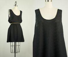 90s Vintage Black Semi Sheer Mini Tent Dress / Size by decades