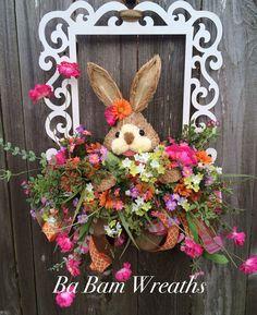 Easter Wreath Easter Door Hanging Spring Wreath by BaBamWreaths