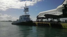 63 ton replica of space shuttle Explorer on its way via barge to Johnson Space Centre in Houston.