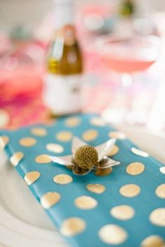 DIY gold polka dot napkins, teal, cloth