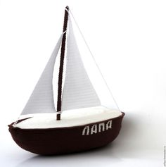 Купить Яхта парусная вязаная (вязаный парусник/корабль) - яхта вязаная, парусник вязаный, кораблик вязаный