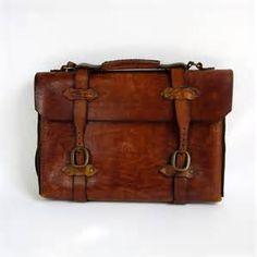 Vintage Chestnut Brown Leather Messenger Bag