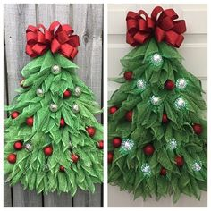 This is a unique Julies Wreath Boutique designed Christmas tree. It is 26 in height and 20 wide at the base of the tree. This is the ONLY tree to have battery powered ornaments attached to it. The tree is made of a weather proof material of poly burlap but I cannot guarantee that the lights are weather proof. A good covered porch will be needed. This wreath can be made without the lights, please contact me via message and I will make a custom listing for you at no additional charge. This…