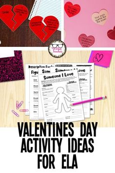 Here are five different ideas for easy and fun language arts activities to do on Valentines Day in your ELA classroom! #ValentinesDay #ELA #middleschool #highschool #TheLittlestTeacher Middle School Literature, Middle School Reading, Descriptive Writing Activities, Writing Prompts, Ela Classroom, Classroom Ideas, English Language, Language Arts, Poems For Students