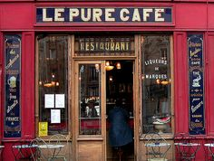 The authentic exterior of Le Pure Cafe in Paris