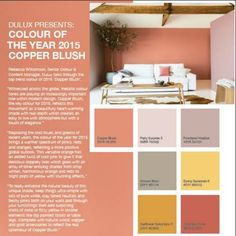 Copper blush Dulux colours are set to become a popular choice in 2015 Room Colors, Wall Colors, House Colors, Paint Colours, Bedroom Color Schemes, Colour Schemes, Cafe Interior, Interior And Exterior, Exterior Colors