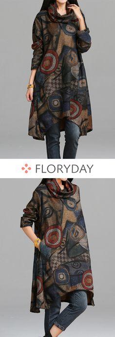 Floral Pockets Long Sleeve Above Knee Shift Dress, floral dress, pockets, long sleeve, above knee, shift dress, fashion dress, autumn.