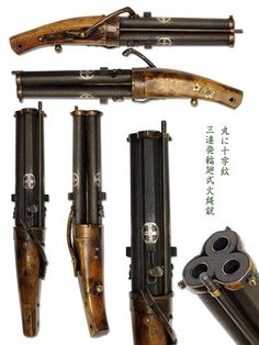 Rare Japanese revolving three barreled matchlock Barrels are silver inlaid with the Shimazu family crest. Weapons Guns, Guns And Ammo, Pistola Steampunk, Arsenal, Armas Wallpaper, Steampunk Weapons, Fire Powers, Fantasy Weapons, Cool Guns