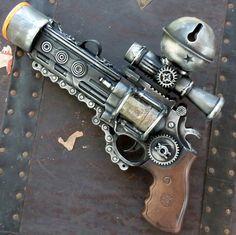 Steampunk  TESLA gun Victorian scifi pistol by oldjunkyardboutique