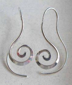 Long Spiral Earrings in Sterling Silver