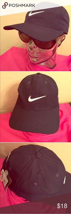 🆕 RESTOCKED! ONLY 1! Nike Golf Cap Authentic Nike Golf Cap. Adult Unisex. Navy Blue with Embroidered White Swoosh on Front & Back. Drum-Fir. Vented. Navy Blue Button Top. Adjustable Velcro Back. 100% Polyester. Brand New. Excellent Condition. No Trades. See Other Great Nike Listings. 👍🏽 Nike Accessories Hats