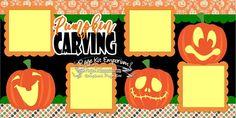 Scrapbook Page Kit Fall Halloween Pumpkin Carving Boy Girl