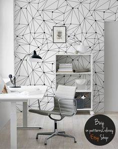 Minimalistic constellations wallpaper, black and white, lines wall mural, dots, scandinavian style, reusable, removable #92