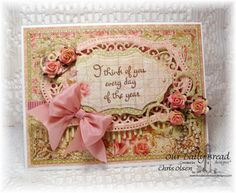 """I was so excited to see some of my fave colors for today's Free For All!!  I just love pink and blue.  I hope I have time to enter more than once!!!  I had a good time making this """"Thinking of You"""" card.  Card Materials: Stamps Used:  Our Daily Bread Designs (ODBD)-Miss You Dies Used: ODBD Vintage Flourish Pattern, Vintage Labels, Fancy Foliage, Beautiful Borders, Spellbinders Majestic Labels 25 Paper Used: ODBD Blushing Rose Collection,  neenah white  Thanks for Looking!"""