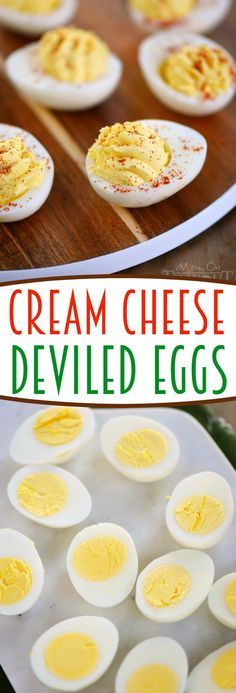 Cream Cheese Deviled Eggs - Cream cheese makes everything better and these deviled eggs are no exception! Super creamy and delicious, this is the party appetizer that everyone will go for first!: