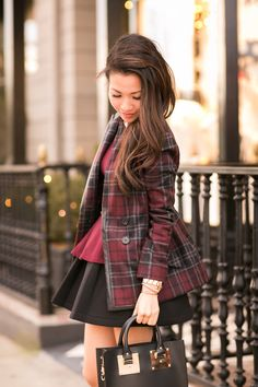 Plaid X Two :: Casual days by Wendy's Lookbook Plaid layered over peplum top and skater skirt. Love!