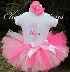 Pretty Pink --Baby Girl 1st Birthday Tutu Set--Party Outfit-- Photo Prop on Etsy, $58.00