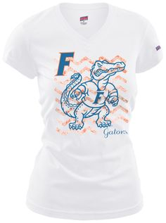 With game day around the corner, nothing will get you more excited than our white V-neck, orange chevron, blue Albert the gator shirt! #BeallsFlorida #UF #GATORS