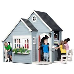 Backyard Discovery Spring Cottage Kids Cubby Houses, Kids Cubbies, Play Houses, Home Playground Equipment, Outdoor Play Equipment, Trampolines, Cottage, Australia Living, Porch Lighting