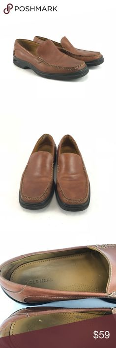 Cole Haan Brown leather men's loafers Pre-owned Cole Haan Brown leather men's loafers.  Men's size 12. See pictures for condition.  Extreme quality and comfort. Cole Haan Shoes Loafers & Slip-Ons