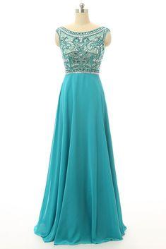 Chiffon prom dress, beaded prom dress for teens, blue chiffon long prom dress with beautiful top datails