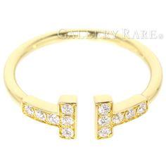 ティファニー リング Tワイヤー ダイヤモンド 0.13ct K18YGイエローゴールド リングサイズ約9号 TIFFANY ジュエリー 指輪 ダイアモンド Tコレクション