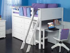 low loft bed with storage. Maximizing floor space in a kids room without making it too high off the ground. Awesome Bedrooms, Cool Rooms, Bedroom Sets, Girls Bedroom, Small Bedroom Ideas For Girls, Teen Bedrooms, Bedding Sets, Loft Storage, Storage Ideas
