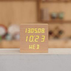 [Mooas] LED Wooden Alarm Clock Time Date Real Wood Gift Brand New (SquareType)